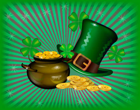 St. Patrick`s Day greeting. Vector illustration. Happy St Patricks Day.Blurred Green Background Illustration