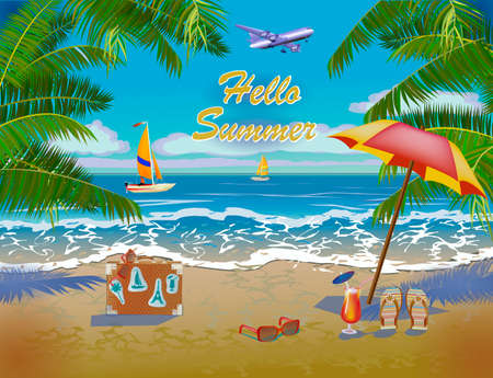 Hello Summer Postcard design