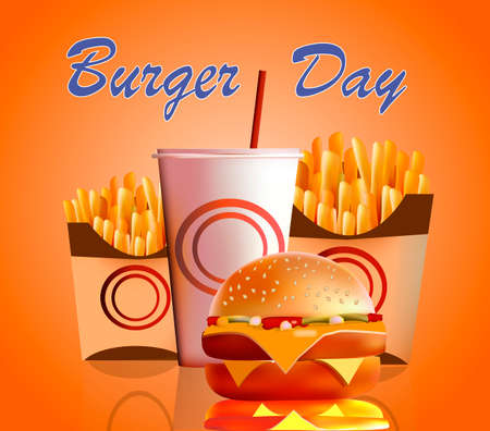 Burger, fries, cola, fast food is the most popular in the world of food vector illustration. Illustration