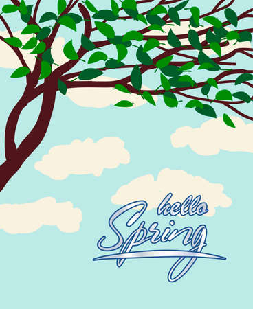 Vector illustration spring with tree and clouds.