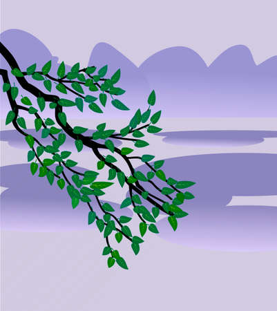 Vector illustration  of tree branch with leaves on bluish background.