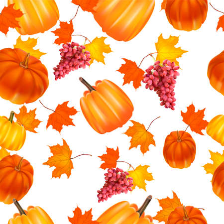 Seamless autumn background. Red and yellow pumpkins and autumn leaves.