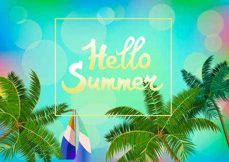Vector Banner Summer vacation and travel design Illustration