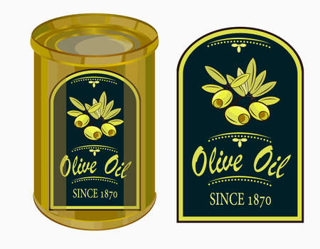 vector illustration of a label of olive oil.