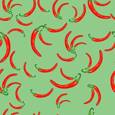 Vector seamless background of red hot peppers