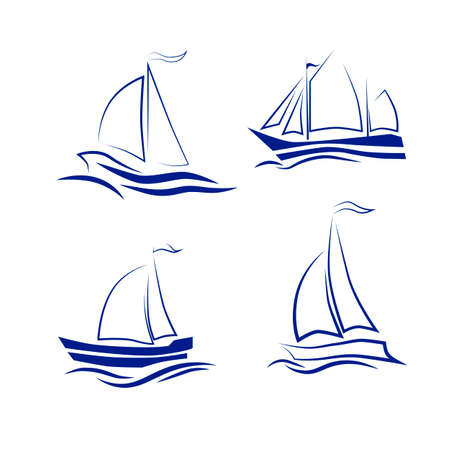 Travel by sea or ocean, a set of vector icons