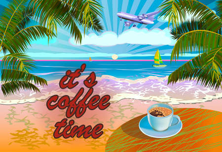 Vector Banner Summer vacation and travel design.Coffee on the table in the summer. Ilustração