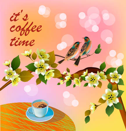 Banner spring leaves blooming cherry blossom. Coffee on the table in the spring. Time to drink coffee.Sakura.