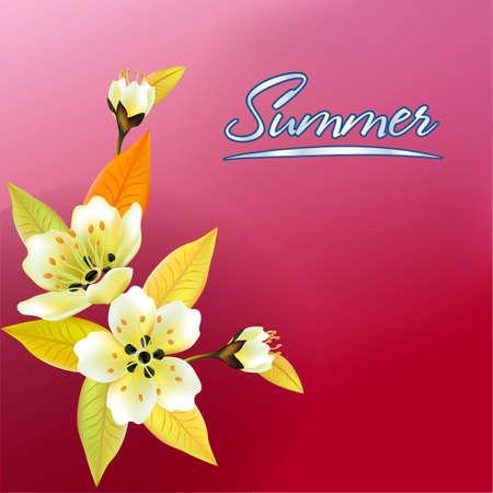 Vector illustration. Spring. Everything wakes up, sakura blossoms blossom.