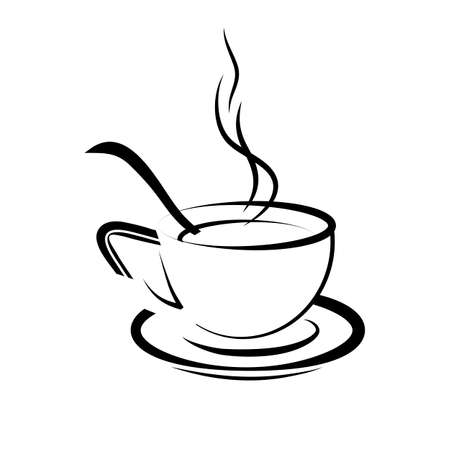 Vector illustration of drawing a cup with coffee, and a coffee spoon Ilustração