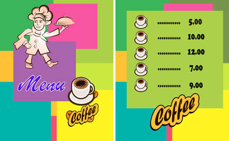 Vector illustration of a cook menu of a restaurant or bar. The cook carries a hot meal, a logo. Hot coffee or tea. Ilustração