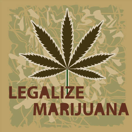 Vector banner of marijuana legalization. A leaf of marijuana on a green background.