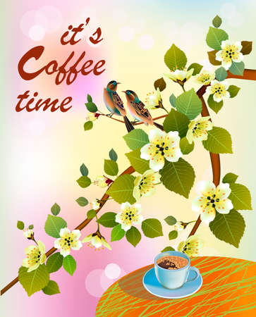 Banner spring leaves blooming cherry blossom. Coffee on the table in the spring. Time to drink coffee.Sakura. Vektorové ilustrace