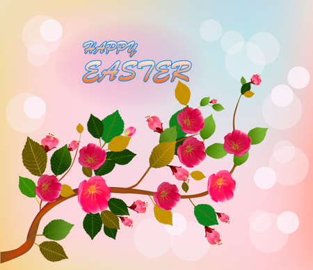 Easter card with spring flowers Illustration