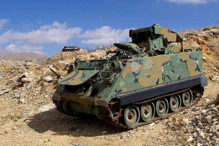 the golan heights: Mt Hermon, armoured personnel carrier on israeli Lebanese Syrian border on Golan Heights, Israel