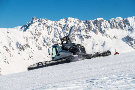 ���clear sky���: Snow cat in a Winter Mountain in clear sky day Stock Photo
