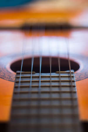 Acoustic guitar fretboard strings melody music song