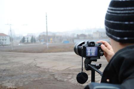 steelmaker: People photographed monument steelmaker afar in the fog