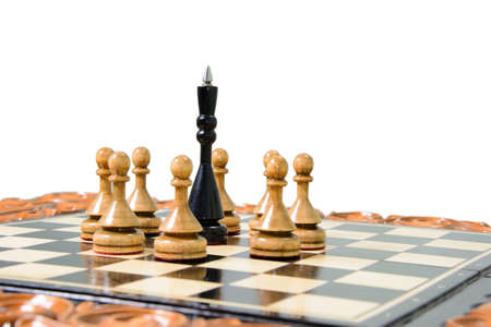 battle plan: The chess pieces are placed on the chessboard. Stock Photo