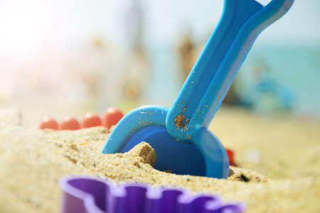 Childrens set for playing with sand on the beach. summer rest. Stock Photo