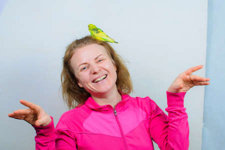 Funny budgie. A cute yellow budgie parrot is sitting on the girl head. Banque d'images