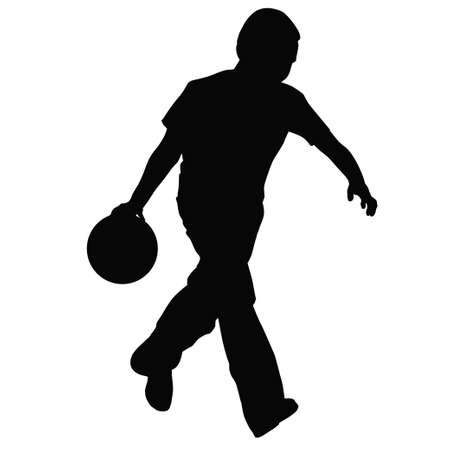 Młody chłopiec gra w kręgle