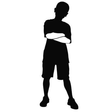 arms folded: A young boy stands, with his arms folded Illustration