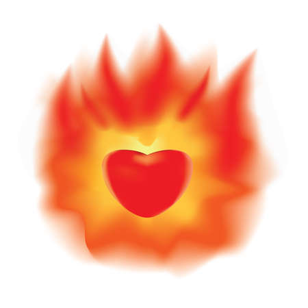 The stylized image of a burning heart Illustration