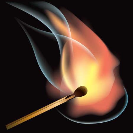 arson: Burning match on a black background close up