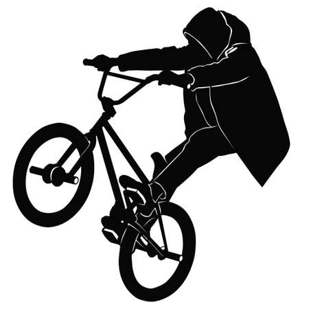 bw: Teenager riding a BMX bicycle in BW