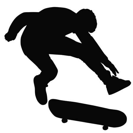 bw: Teenager ride on a skateboard in BW