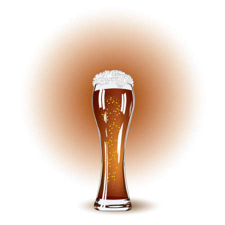 overflow: Glass of beer and white foam close up Illustration