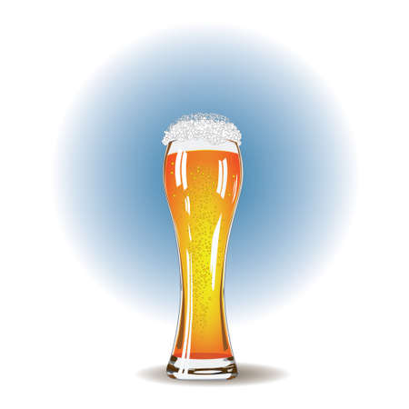 unbottled: Glass of beer and white foam close up Illustration