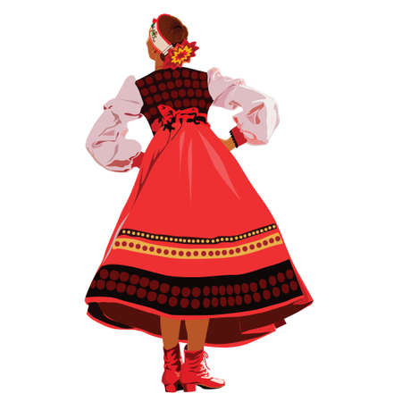 hollyday: The girl in national costume dancing on hollyday Illustration