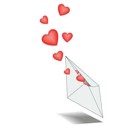 Eingehende Brief mit Liebeserklärungen mit Herzen
