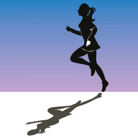 engaged: The young girl engaged in running - silhouette, contour