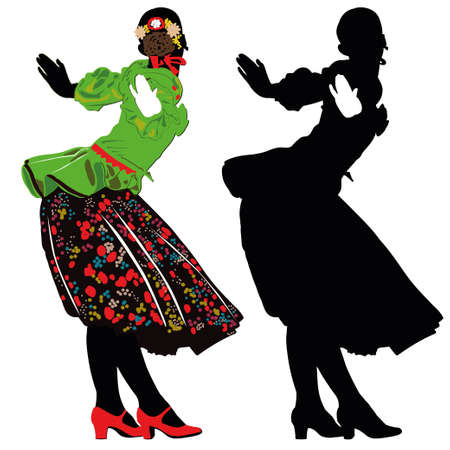 hollyday: The girl in national costume dancing on hollyday -contour