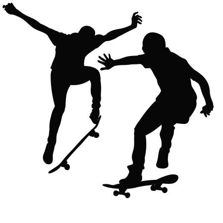 skateboard park: Young man riding a skateboard in black and white tone Illustration