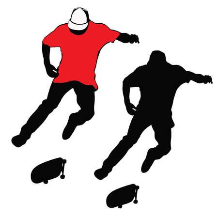 Joven montado en una patineta en tono rojo, blanco y negro