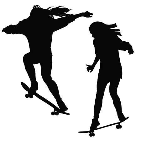 Jong meisje rijdt op een skateboard in zwart-wit toon