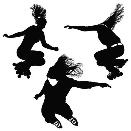 rollerblading: Silhouette of a girl with flowing hair, jumping on roller skates