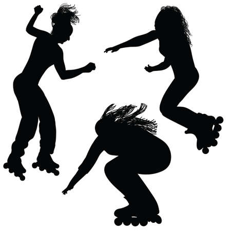 inline skate: Silhouette of a girl with flowing hair, jumping on roller skates
