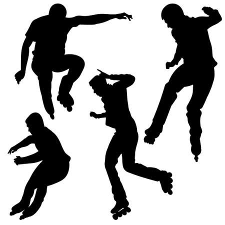 rollerblade: Silhouette of a young man, jumping on roller skates