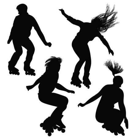Silhouet van tieners, springen op rolschaatsen in het zwart