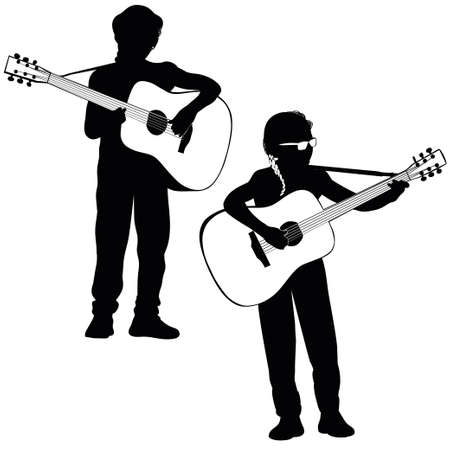 classical guitar: Young girl playing classical guitar - silhouette, outline