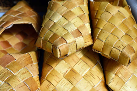 bast: Former Russian birch bark shoes - bast shoes close-up