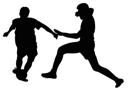 soccer players: Soccer players fighting for the ball in a football match Illustration