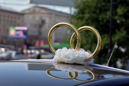 oneness: Wedding rings on the car roof newlyweds Stock Photo