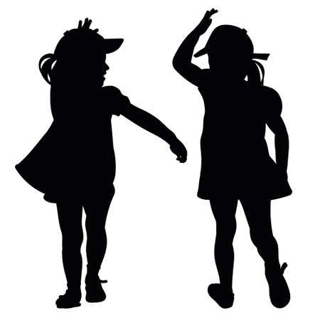 joy of life: Silhouettes playing small children in black Illustration