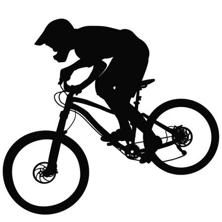 Bike race on a mountain slope -- silhouette, vector